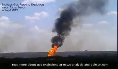 Natural Gas Pipline Explosion, about 55 miles west of Corpus Christi, Texas