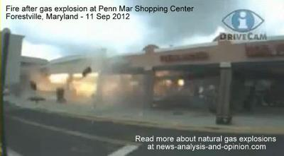 Fire after gas explosion at Maryland Shopping Center